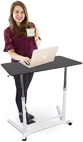 Stand Steady Height Adjustable Standing Computer Desk with Wheels Sit to Stand up Workstation Training Table with Storage Drawer Great for Classrooms, Offices, Home and More 37.5 x 20.5