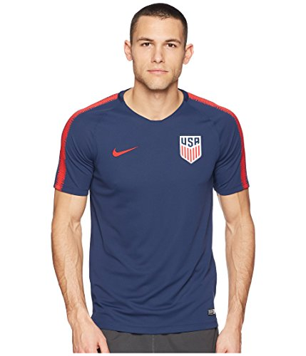 Nike Usa Soccer Training - Nike Men's Breathe USA Squad SS Shirt Midnight Navy/University Red Size Medium