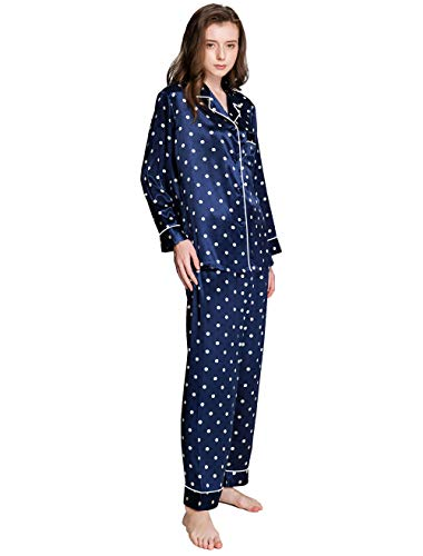 - Womens Silk Satin Pajamas Set Sleepwear Loungewear Blue 2XL