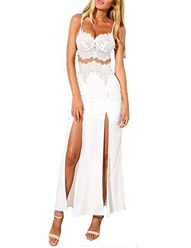 Kranda White Eyelash Lace Strap Summer Maxi Beach Dress with Split Skirt (Large(8-10), White)