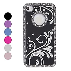 Ships in 24 hours sold out Diamond Frame Brushed Aluminum White Waves Pattern Hard Case for iPhone 4/4S (Assorted Colors) , Silver