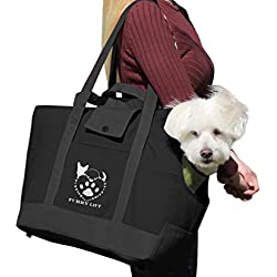 Furry Lift Pet Carrier Purse for Dogs or Cats, 8 Inner and Outer Pockets for Phone and Supplies, Safety Flaps, Up to 15lbs, Sherpa Insert, Perfect for Subway, Car, and Bus Travel (Solid Black)