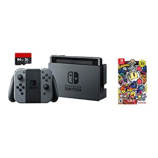 Nintendo Swtich 3 items Game Bundle:Nintendo Switch 32GB Console Gray Joy-con,64GB Micro SD Memory Card and Super Bomberman R Game Disc