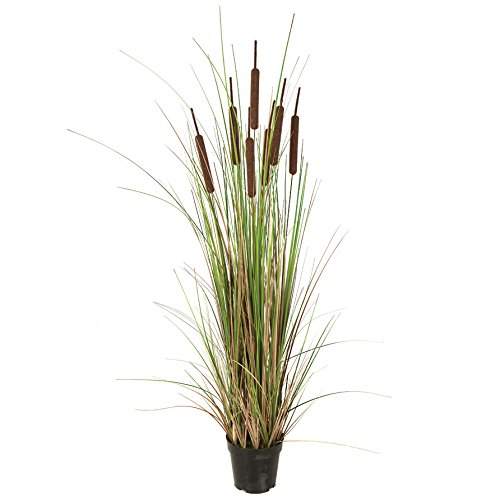 Ornamental Silk - 4' IFR PVC Cattail Grass Artificial Plant w/Pot -Brown/Green (pack of 2)