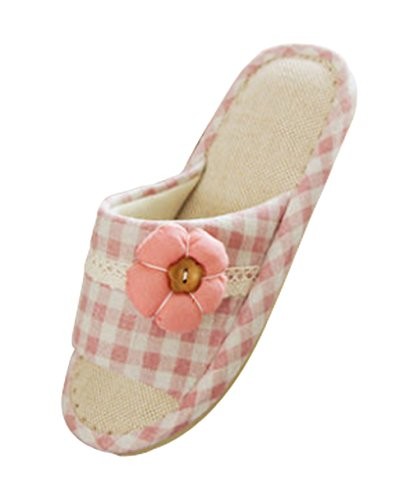 Cattior Dames Linnen Open Teen Slippers Huis Slippers Roze