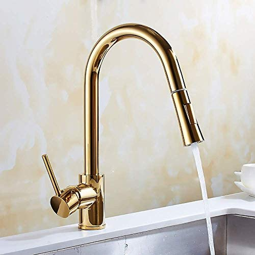 ShiSyan 立体水栓 万能水栓 金メッキ銅プル蛇口回転キッチン蛇口シンクシンク調節可能なホットとコールド蛇口美しいと耐久性 混合水栓