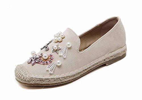 GLTER Zapatos planos de mujer de agua de diamante de flores de terciopelo de terciopelo plana pescador zapatos White