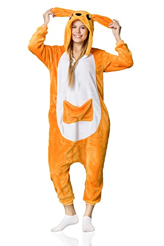 Adult Kangaroo Onesie Pajamas Kigurumi Animal Cosplay Costume Onsie Fleece Pjs (L, orange, (Grown Up Halloween Costumes Ideas)