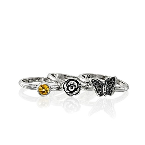 Paz Creations ♥925 Sterling Silver Set of 3 Stack Rings (7), Made in Israel by PZ (Image #1)