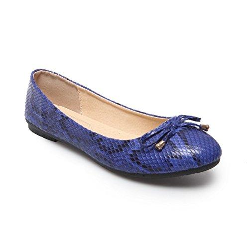 La Modeuse Bailarinas-Juguete de imitación de piel de serpiente Azul - azul