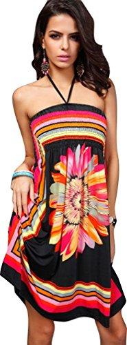 iNewbetter Womens Baroque Floral Print Island Beach Halter Dress Short Summer Sundress (Pattern1-Black) Island Halter