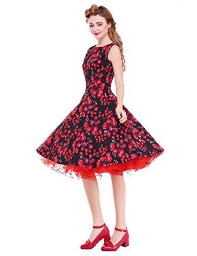 [Vianla Retro Women's Floral 1950s Vintage Party Cocktail Swing Dresses Black XXL] (Dresses From The 1920s)