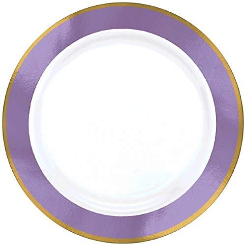 - Amscan Premium Plastic Round Plates | White/Lavender | 10.25
