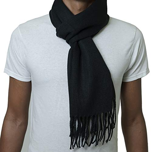 Alpine Swiss Mens Plaid Scarf Soft Winter Scarves Unisex,Solid Black,One Size