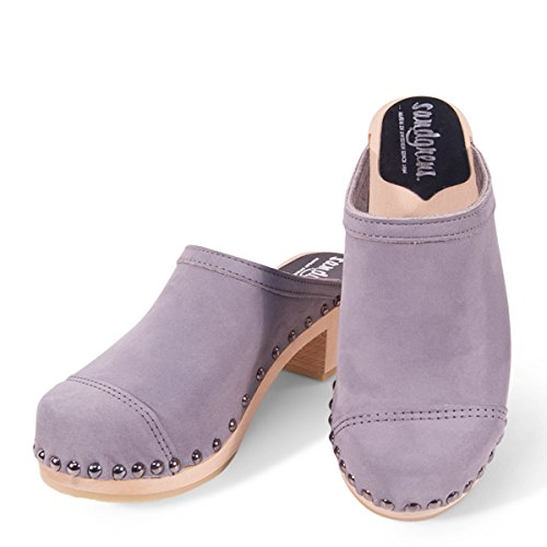 High Sandgrens Heel Wooden Purple Ash Women Swedish Toe Cameo Clog Cap Mules rqf5rEw
