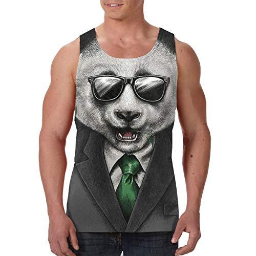 LIN. Summer Mens Undershirt Crew Neck Cool Sunglasses Panda Sleeveless Vests for Tennis Sport Beach, Basic Lightweight Comfort Workwear Chest Compression Tank Tops