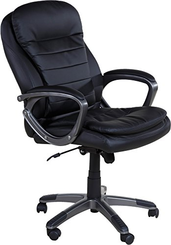 OneSpace Leather Executive Pillow Top Chair with Padded Armrests
