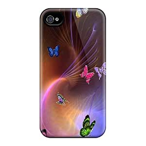 Flexible Tpu Back Case Cover For Iphone 4/4s - Butterfly Swirl