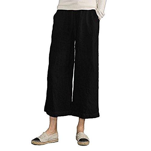 Linen Crop Pants - MOCOTONO Women's Plus Size Elastic Waist Wide Leg Linen Cropped Pants Black Medium