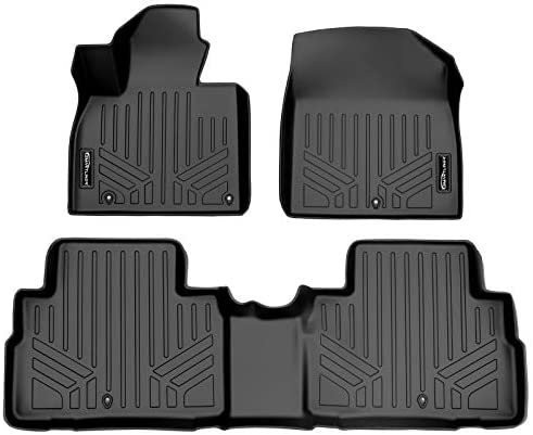 MAXLINER All Weather Custom Fit Black 2 Row Floor Mat Liner Set Compatible With 2020-2022 Kia Telluride with 2nd Row Bench or Bucket Seats With Center Console