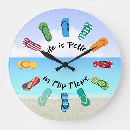 Life is Better in Flip Flops Beach Time Wood Clock Wall Decorative Small 10 inches Silent Non-Ticking Wooden Clock