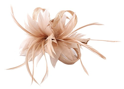 (La Vogue Women Small Sinamay Fascinators Feather Flowers Hair Clip Bridal Light Khaki)