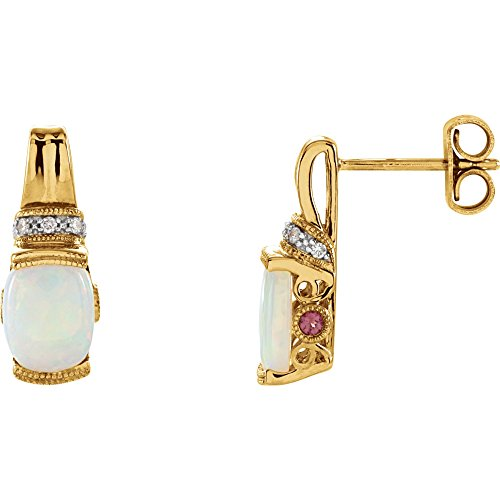 14K Yellow Gold Genuine Opal, Pink Tourmaline & .05 CTW