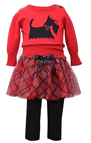Scotty Dog Leggings - Baby Girls Red Scottie Dog Intarsia Plaid Sweater/Skirt-Legging Set, W1-BBNI-WIN15-Bonnie Baby, Red, 24M