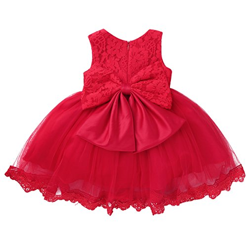 MSemis Infant Baby Girls Floral Lace Tutu Dress Bridesmaid Wedding Flower Girl Dress Ball Gown Red 3-6 Months