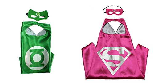 Green Lantern & Supergirl Costumes - 2 Capes, 2 Masks w/Gift Box by Superheroes