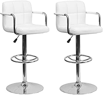 Amazon Com South Mission Chic Elite Modern Adjustable Synthetic Leather Swivel Bar Stools High Back Armrest White Set Of 2 Furniture Decor