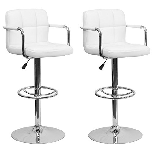 2 Swivel Bar Stool w/ Arm PU Leather Modern Adjustable Hydraulic Barstool (White)