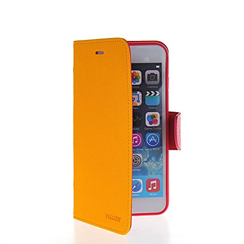 MOONCASE Coque en Cuir Portefeuille Housse de Protection Étui à rabat Case pour Apple iPhone 6 Plus Jaune