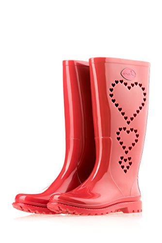 Mei 3 Hearts Perforated Ladies Wellies Wellington Rain Boots Red vrPw6EdXxo