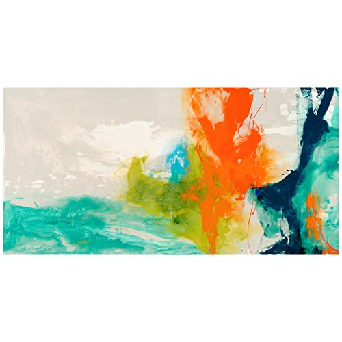 - Empire Art Direct Tidal Abstract 1 Frameless Free Floating Tempered Glass Panel Graphic Wall Art, 48