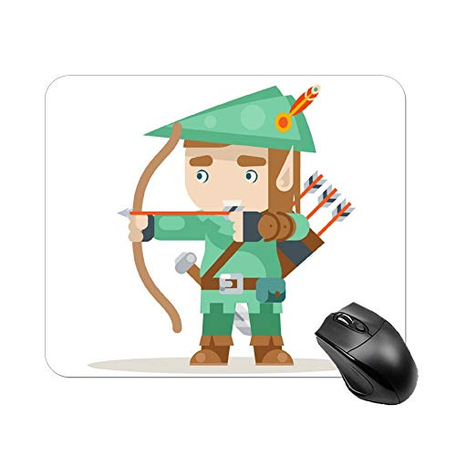 FGN Mouse Pad Sharpshooter Archer Bow Arrow Elf Fantasy Medieval Mousepad Non-Slip Rubber Gaming Mouse Pad Rectangle Mouse Pads for Computers Laptop -