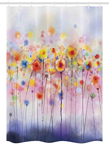 Ambesonne Watercolor Flower Stall Shower Curtain, Flowers in Soft Colors Dreamy Abstract Colorful Blurred Display, Fabric Bathroom Decor Set with Hooks, 54 W x 78 L Inches, Purple Orange Yellow (Curtains Purple Orange And)