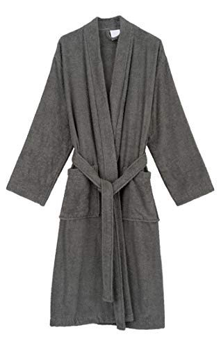 TowelSelections Men's Robe, Turkish Cotton Terry Kimono Bathrobe Large/X-Large Titanium