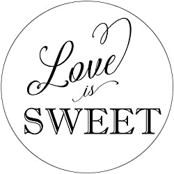Love is Sweet Favor Stickers, Pretty Wedding Favor Stickers, Swirl Font, Love is Sweet, Labels, Candy Favors, Thank You, Candy Buffet, Candy Bar, Favor Stickers