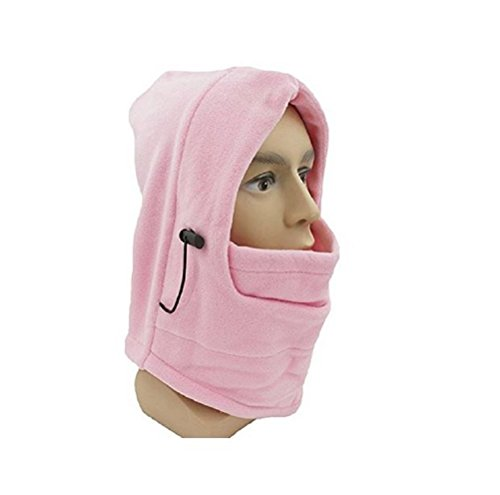 ICON Sportswear Unisex Fleece Balaclava Ski Snowboard Hood Hooded Face Mask Wind Protector Neck Warmer (Light - Icon Pink Hat