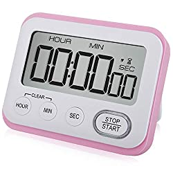 Digital Kitchen Timer Magnetic Loud Alarm Clock, Large LCD Screen Silent/Beeping Multi-function for Teachers Kids, Pink
