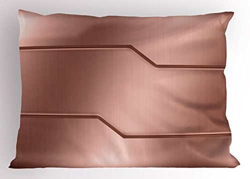 TINA-R Industrial Pillow Sham, Realistic Looking Steel Surface Print Plate Bar Image Technology Inspired Design, Decorative Standard Queen Size Printed Pillowcase, 24 X 16 Inches, Rose Gold
