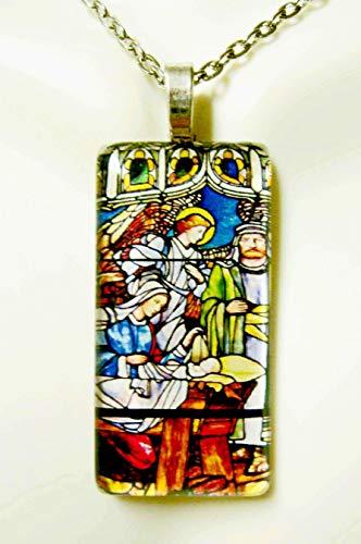 Nativity stained glass widow glass pendant - GP01-216