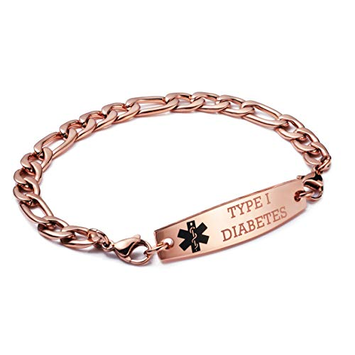 linnalove-Rose Gold Interchangeable Figaro Chain Type 1 Diabetes Bracelet Medical id (7.5