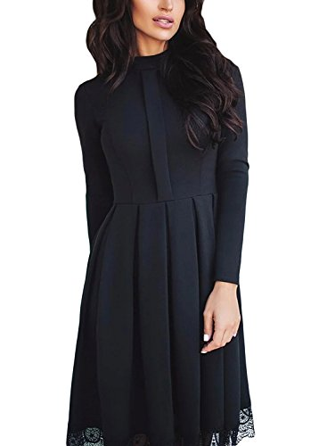 LOSRLY Women High Neck Long Sleeve Pleated Lace Hem Skater Midi Dress-Black M 8 10