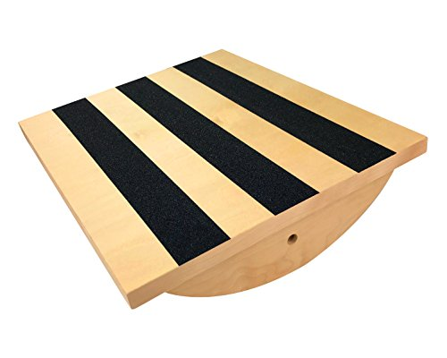 Professional Wooden Balance Board Calf Stretcher | Foot Rocker Board for Injury Rehabilitation Exercise and Core Strength Training - Ideal Physical Therapy Equipment (300 Lbs Capactiy)