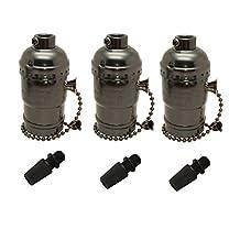 LJY UL-Listed 3-Pack E26 Edison Socket Medium Screw Base Retro Pendant Lamp Holder Aluminum Zipper Style Industrial Light Socket with Pull Chain On/Off Switch (Black)