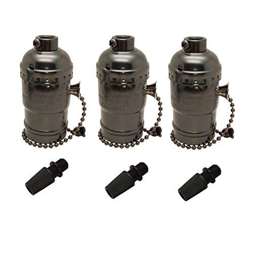 LJY UL-Listed 3-Pack E26/E27 Edison Socket Medium Screw Base Retro Pendant Lamp Holder Aluminum Zipper Style Industrial Light Socket with Pull Chain On/Off Switch ()