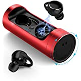 True Wireless Earbuds-ZFKJERS Wireless Bluetooth 5.0 Auto Pairing Headphones HiFi Noise Cancelling IPX7 Waterproof 20H Playtime Sports Earbuds with Charging Case (Red)