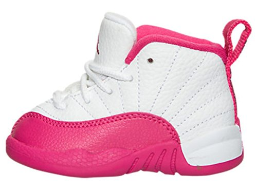 Nike Jordan 12 Retro Toddler TD White / Metallic Silver / Vivid Pink 819666-109 (10C) by Jordan
